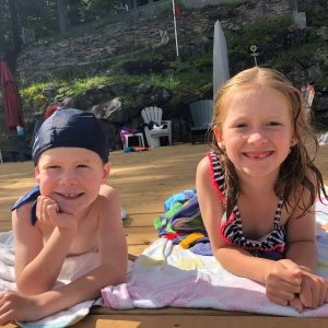 Owen and his sister Evelyne at the beach