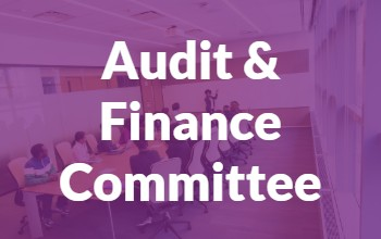 Purple background with text that says Audit and Finance Committee