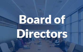Blue background with text that reads Board of Directors