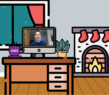 Cartoon of a living room, with a fire place, computer and laptop. Alex Munter appears on the laptop screen.