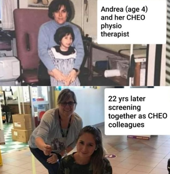 Before and after picture of Dominique and Andrea - the first photo shows Dominique as Andrea's physiotherapist 22 years ago, and the second photo shows them now, reunited as CHEO screeners.