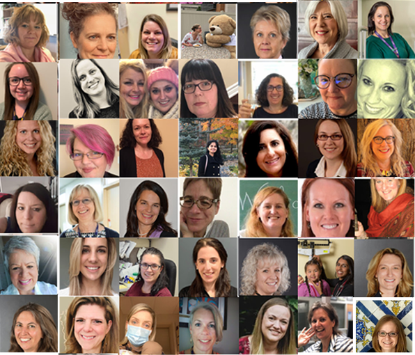Collage of over 40 women at CHEO