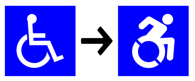 The current standard accessibility icon and the new dynamic accessibility icon